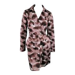 GUCCI Size 6 Taupe Cotton Marble Brush Stroke Print Belted Trenchcoat