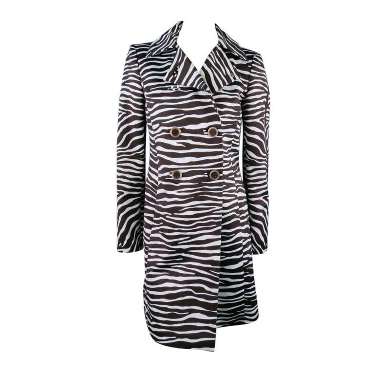 MICHAEL KORS Coat - Size 4 Brown & White Zebra Print Double Breasted Trenchcoat