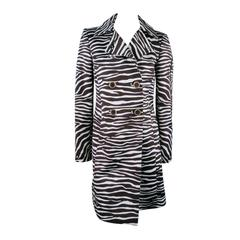 MICHAEL KORS Coat - Size 4 Brown & White Zebra Print Double Breasted Trenchcoat