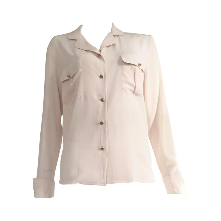 Chanel Cream Silk Blouse Size 6.