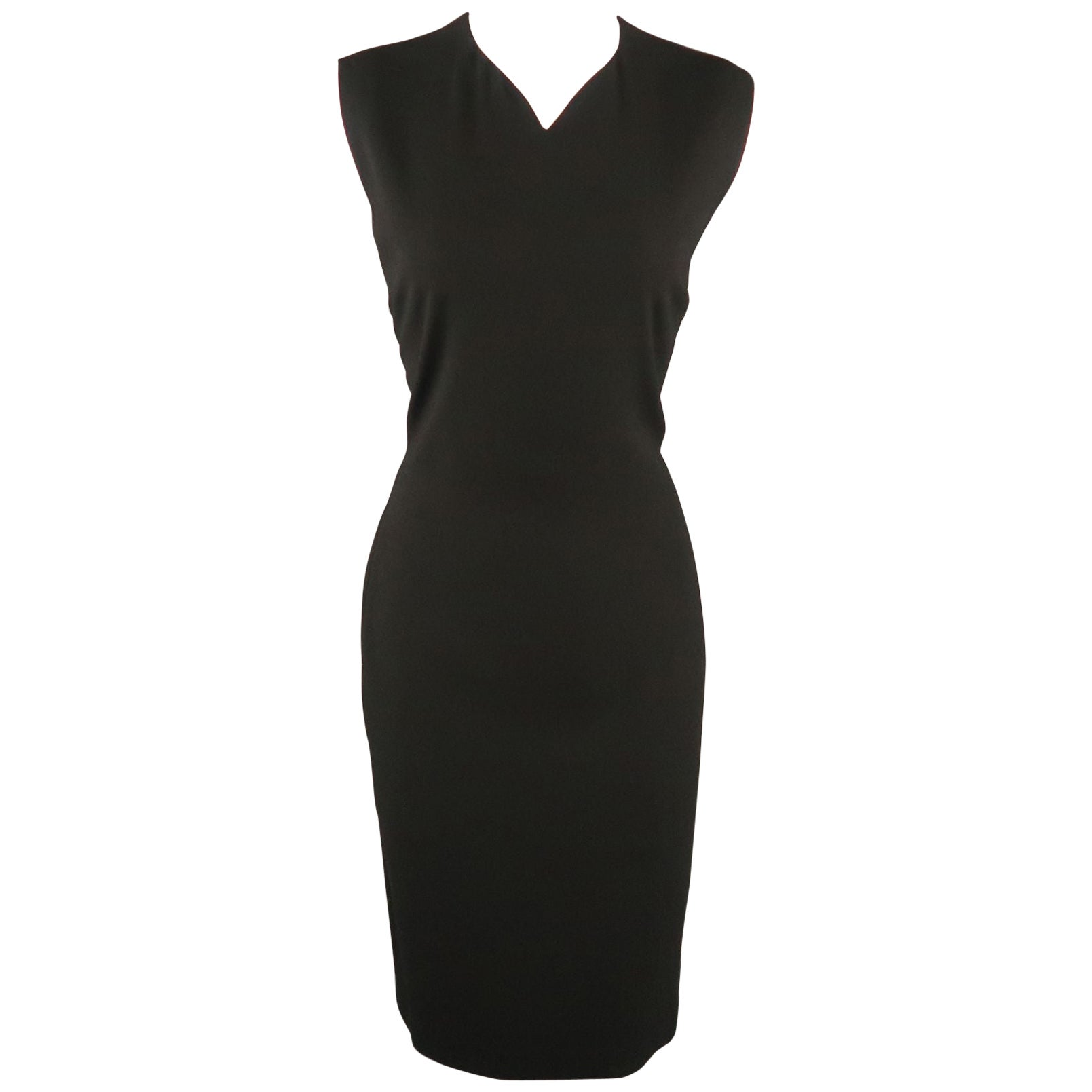 JIL SANDER Size 8 Black Back Cutouts V Neck Sleeveless Shift Dress