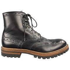 ANTONIO MAURIZI Size 8.5 Black Perforated Leather Wingtip Boots