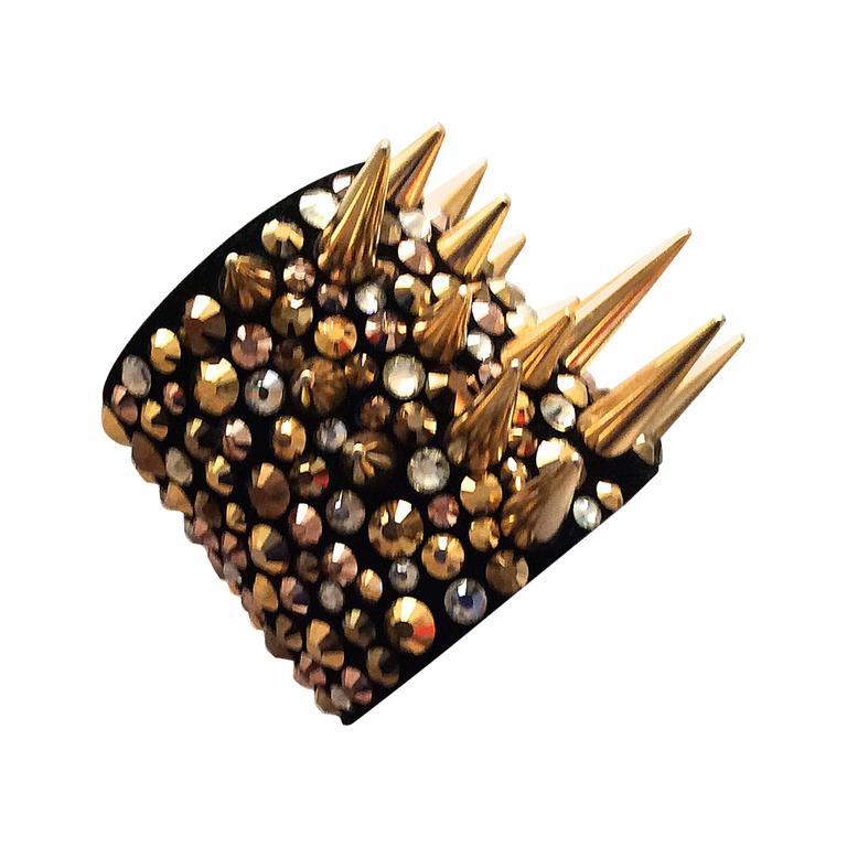 Giuseppe Zanotti Studded Leather Cuff Bracelet For Sale