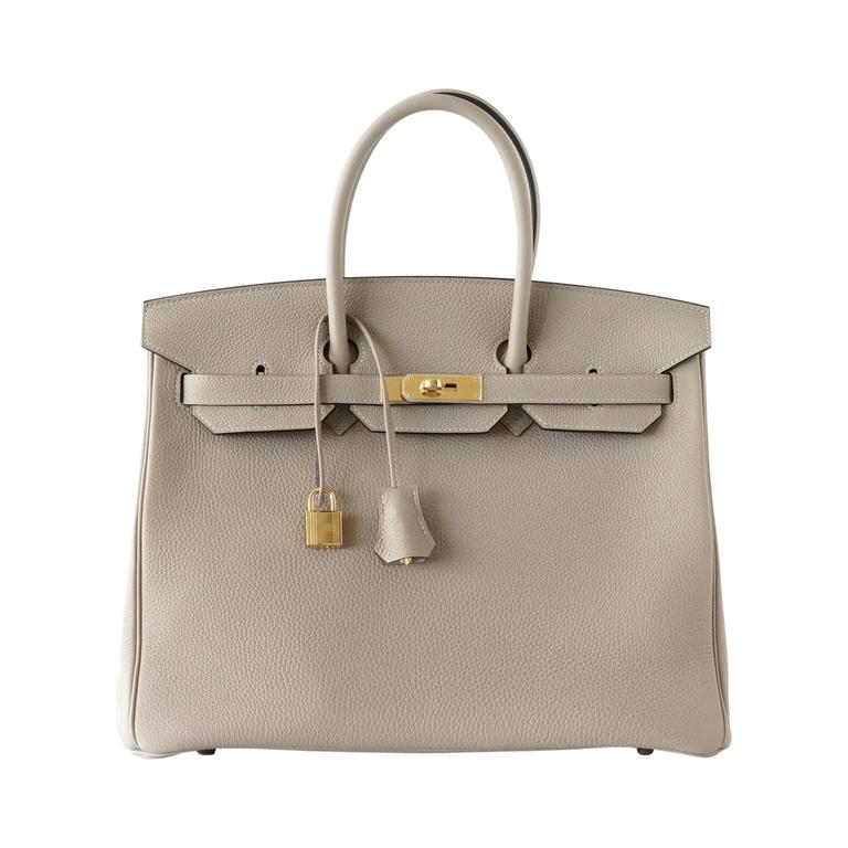 HERMES BIRKIN 35 bag GRIS TOURTERELLE togo coveted gold hardware  1