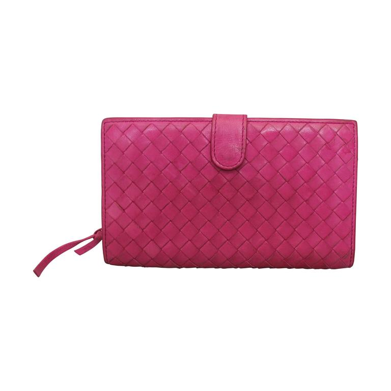 Bottega Veneta Pink Woven Leather Wallet