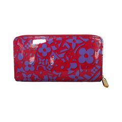 Louis Vuitton Purple & Black Printed Patent Zippy Wallet GHW