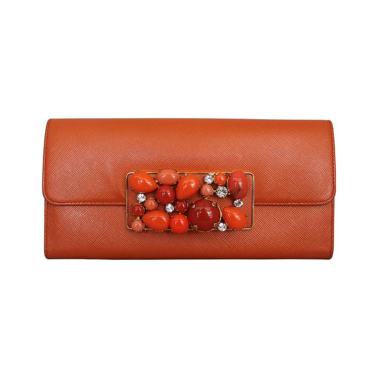 Prada Orange Saffiano Wallet w/ Orange Stones & Rhinestones GHW