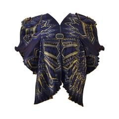 Zandra Rhodes Navy and Gold Pleated Jacket, 1970s