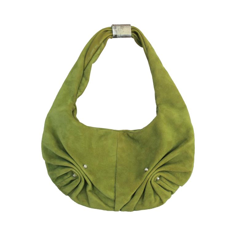 YSL Green Suede Bag with Front Ruching & Rhinestones