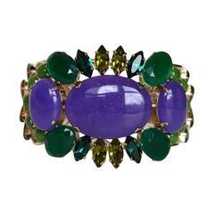Philippe Ferrandis Purple and Green Cuff Bracelet