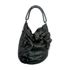 Valentino Black Leather Ruched Flower Shoulder Bag GHW