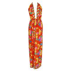 1970's Oscar de la Renta Colorful Silk-Jersey Print Halter Plunge Backside Dress