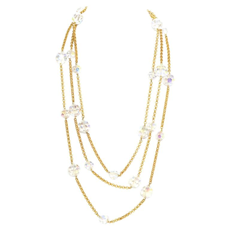 Chanel Vintage '88 Gold Chain Link Crystal Beaded Long Necklace For Sale