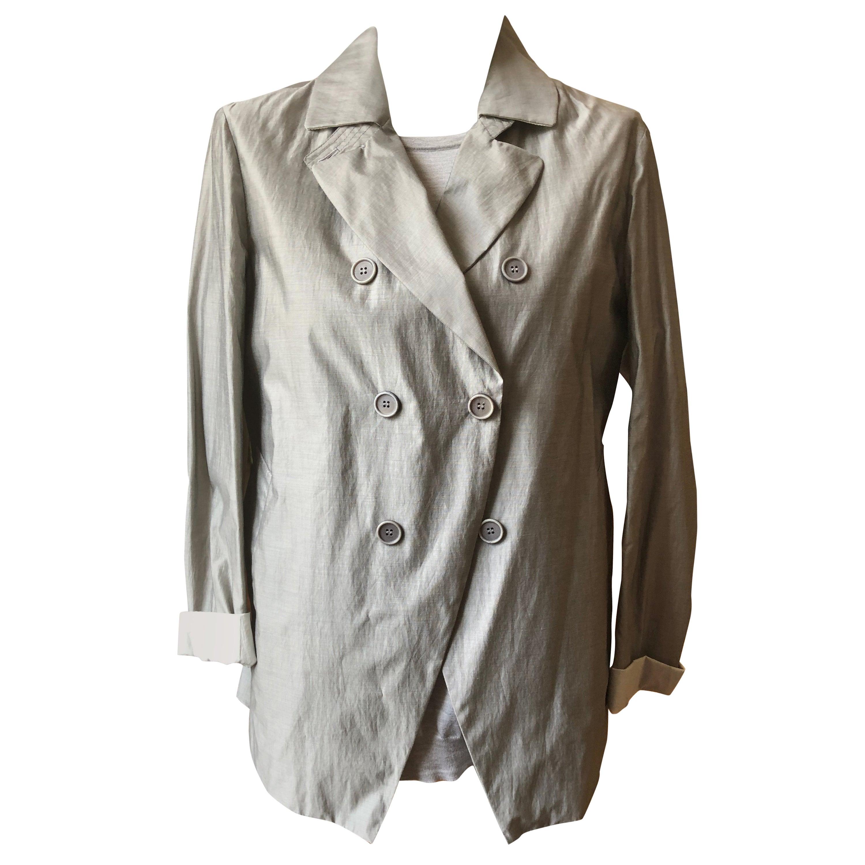 Brunello Cucinelli Grey Fine Cashmire/Silk Sweater w/Cotton/Silk Jacket 48 (ITL)