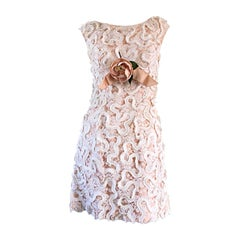 Chic 1960s 60s Pink + Ivory Lace A - Line Dress, w/ Flower Corsage