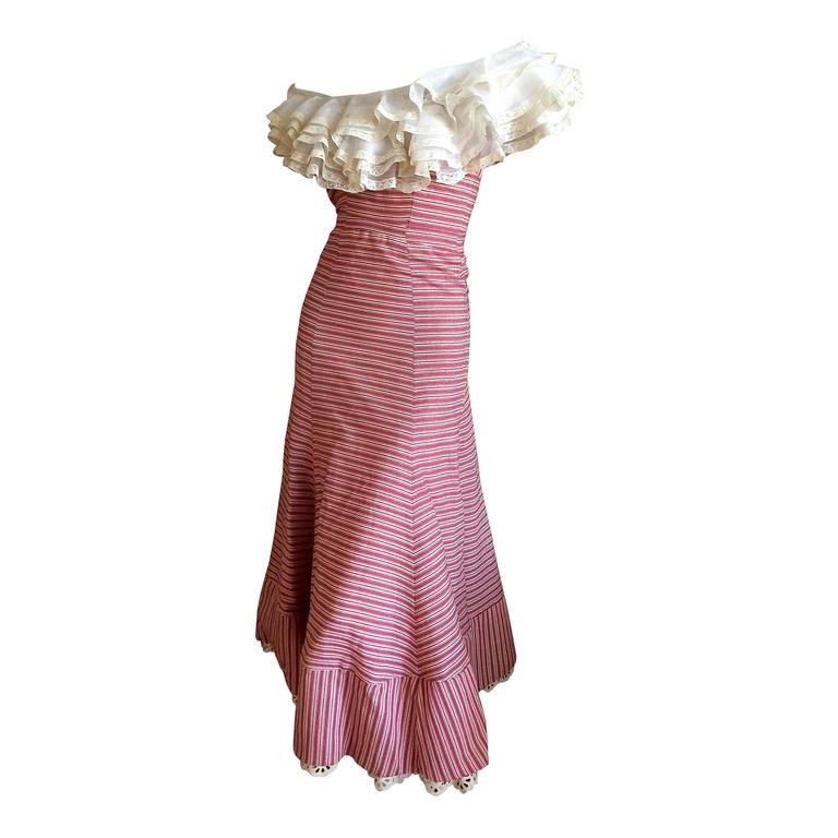 1930's Sweet Stripe Day Dress with Lace Bust and Hem 1