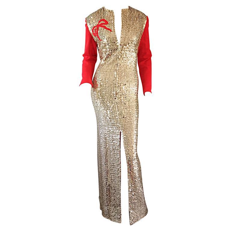 Rare Vintage Oscar De La A Gold Sequin Red Ribbon Dress Gown