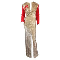 "Rare Vintage Oscar de la Renta Gold Sequin "" Red Ribbon "" Dress Gown"