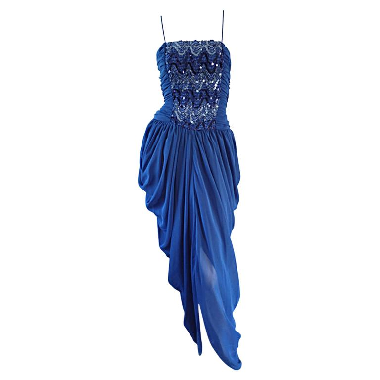 c243e1213171 Sexy Joy Stevens Vintage 1970s 70s Sequin Disco Grecian Tulip Dress For Sale