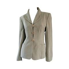 Giorgio Armani 1990s 90s Vintage Khaki / Light Green Herringbone Blazer Jacket