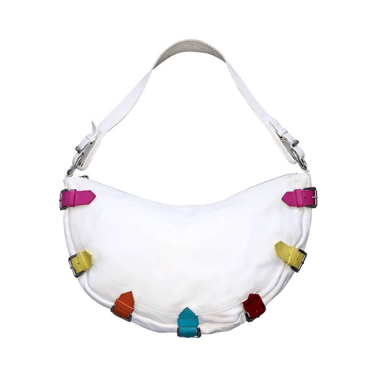Berge Made In Italy White Crescent Shoulder Handbag Bag W Colorful Buckles For