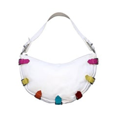 Berge ' Made in Italy ' White Crescent Shoulder Handbag Bag w/ Colorful Buckles
