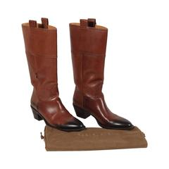 GUCCI Italian Brown Leather WESTERN Cowboy BOOTS w/ Ombre Detail Sz 38 C