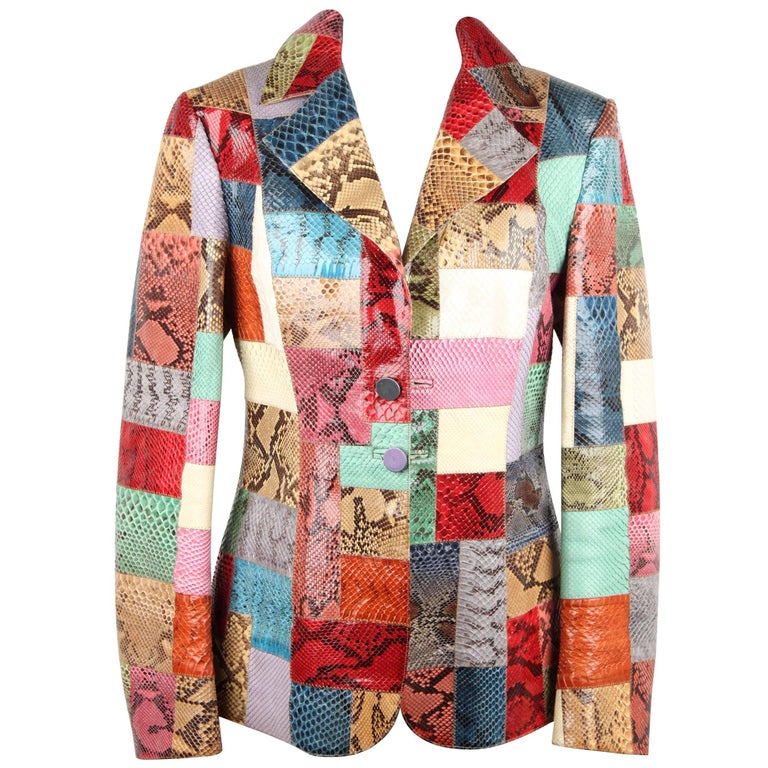 ROBERTO CAVALLI Multicolor PATCHWORK Snakeskin Leather BLAZER Jacket Sz S