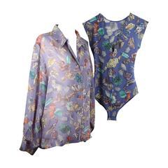HERMES PARIS Vintage Blue Silk SHELL Print SHIRT Blouse w/ Lycra BODY 40