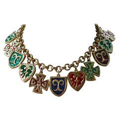 Yves Saint Laurent YSL Vintage Rare Enamel Charm Necklace