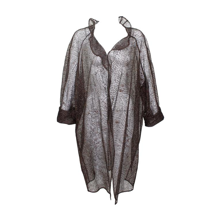 Christian Lacroix Sheer Copper Metallic Lace Jacket/ Duster