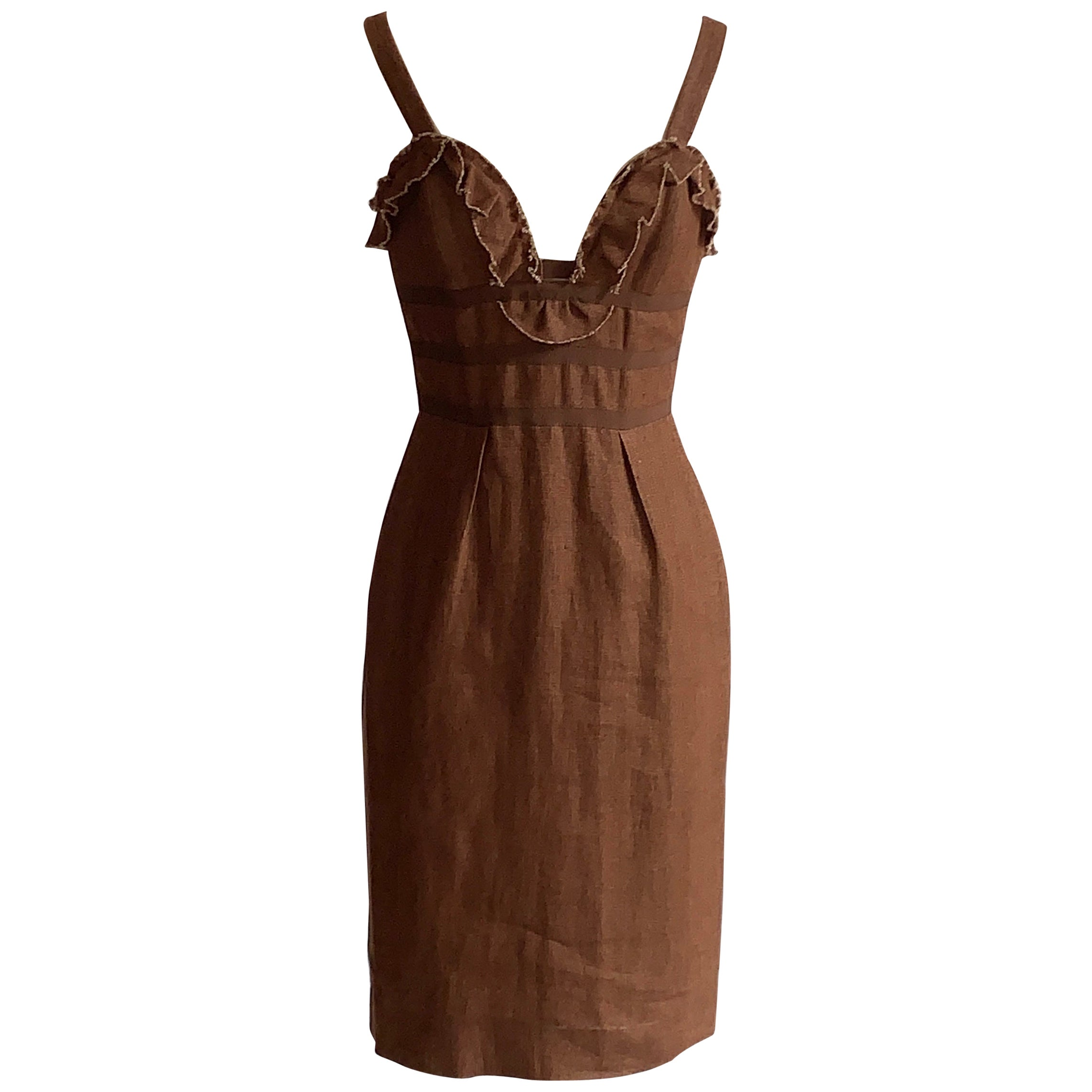 Oscar de la Renta 2007 Runway Look Brown Ruffle Trim Sun Dress