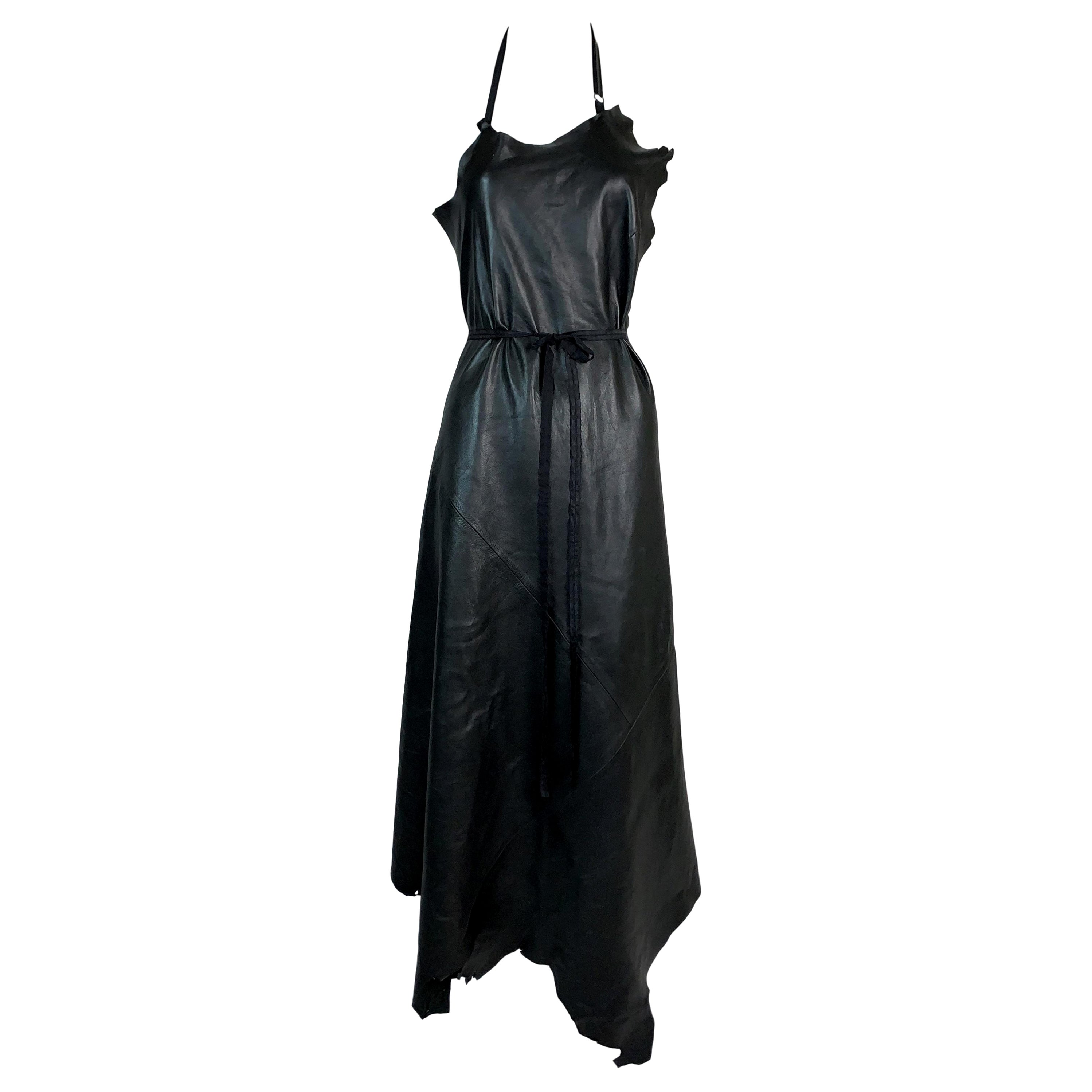 S/S 1999 Maison Martin Margiela Artisanal Black Distressed Leather Halter Apron