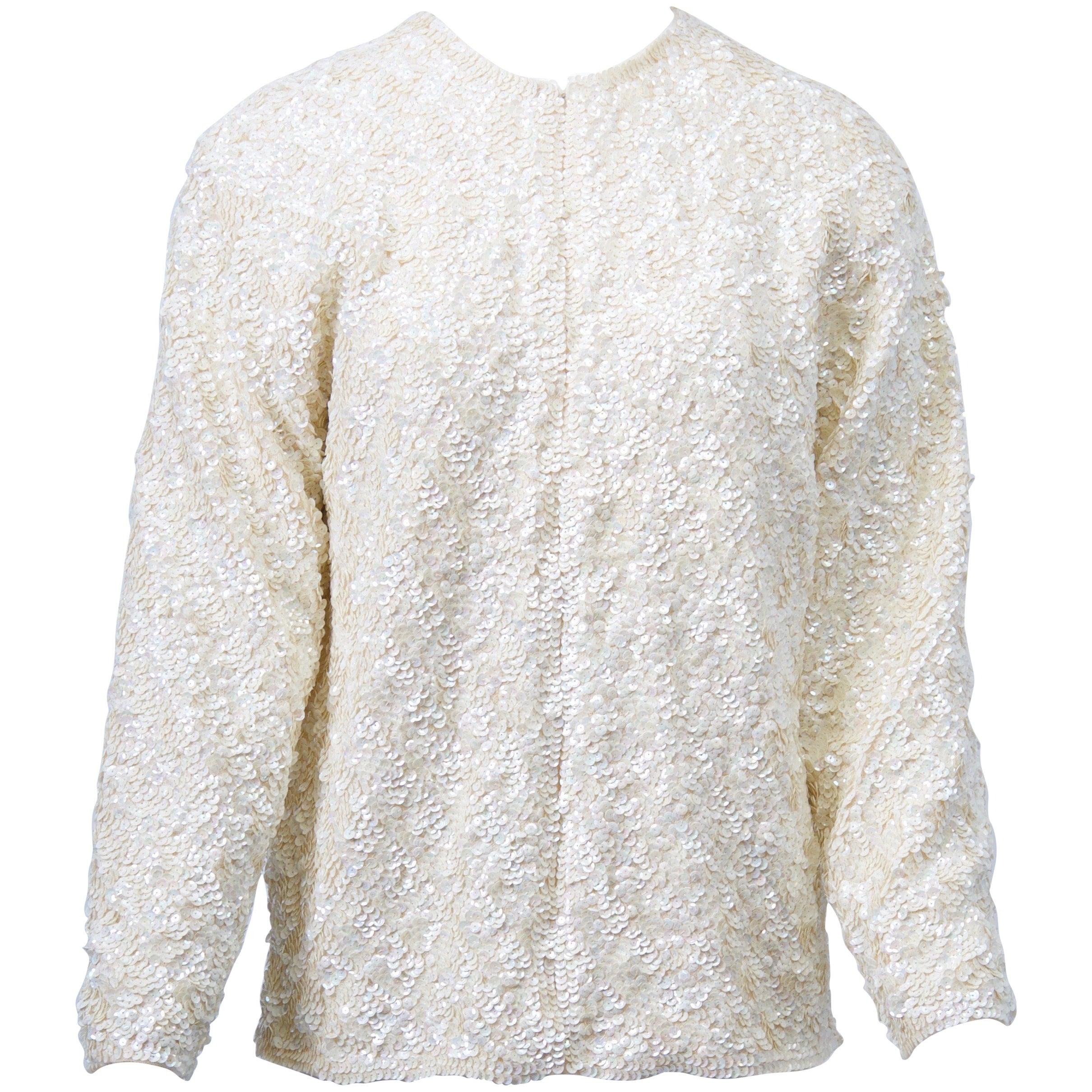 White Sequin Cardigan
