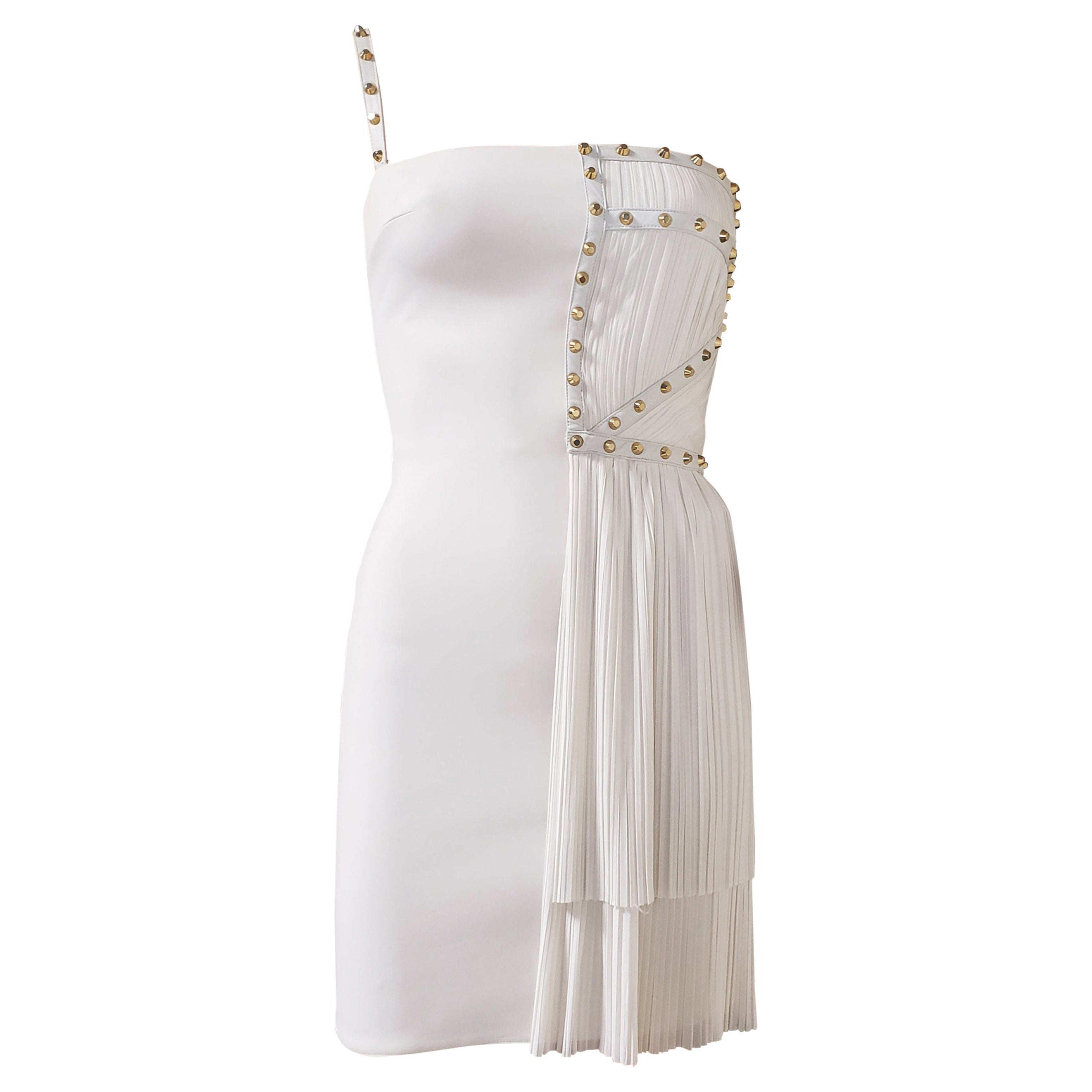 S/S 2012 look # 35 NEW VERSACE ONE SHOULDER WHITE STUDDED DRESS 38 - 2
