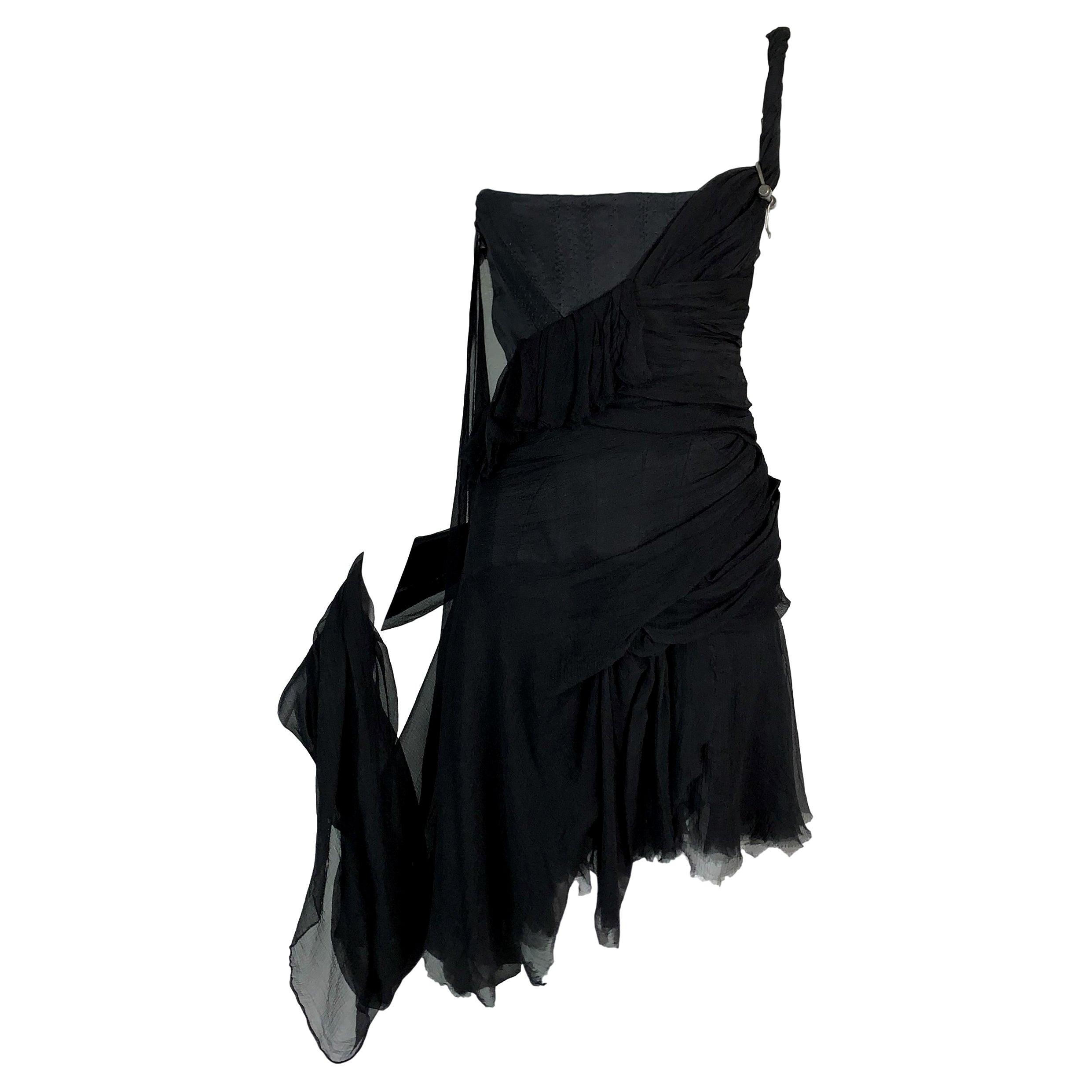 S/S 2003 Alexander McQueen Irere Shipwreck Black Silk Bustier Mini Dress
