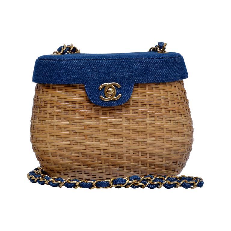 Vintage CHANEL Straw Raffia Denim Top Handbag Mint  1