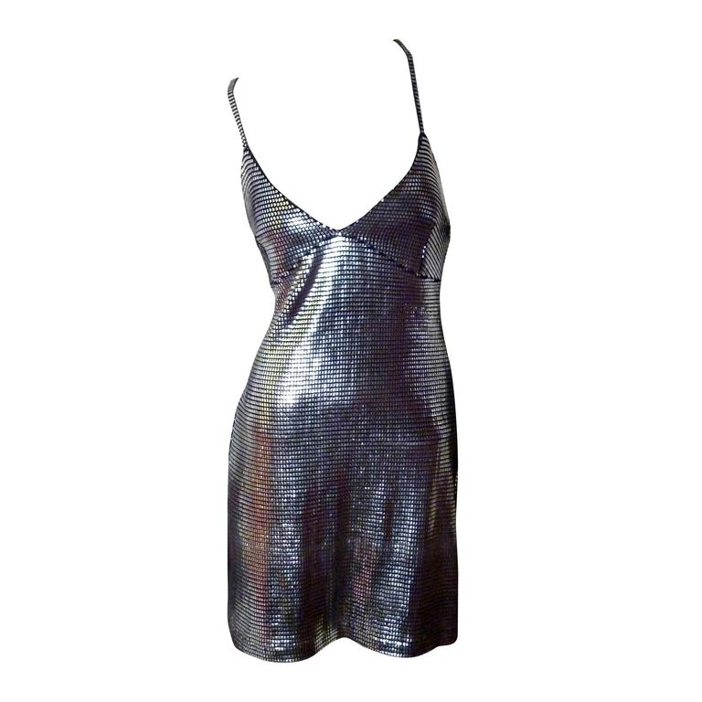 Paco Rabanne Sexy Silver Foil Grid Little Dress 1