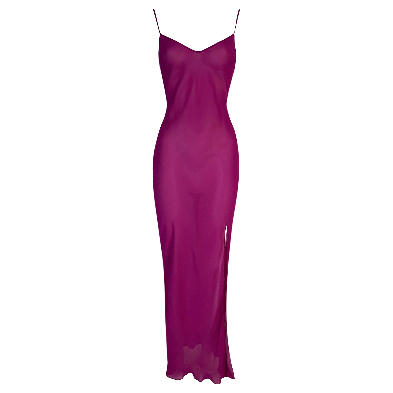 S/S 2004 Christian Dior Sheer Magenta Hot Pink Silk Plunging Slip Dress w Slit