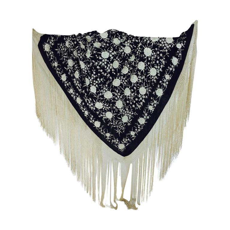 Black & white floral silk Hand Embroidered Canton Piano Shawl 1920s For Sale