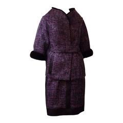 Luxurious J.Mendel Boucle Dress and Mink Trimmed Jacket (US 4)