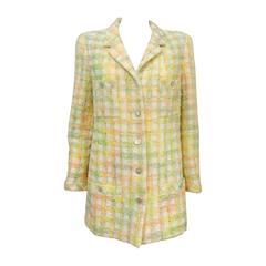 Chanel 1996 Spring Pastel Wool Blend Tweed Jacket