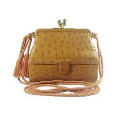 Vintage Judith Leiber Honey Tan Ostrich Shoulder Bag