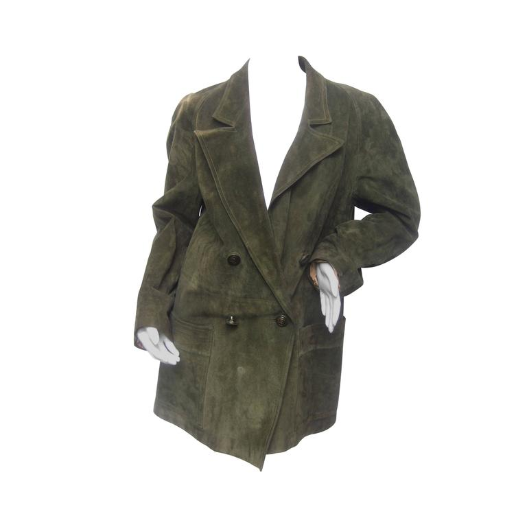 Gucci Italy Moss Green Suede Shabby Chic Unisex Jacket c 1970s For Sale