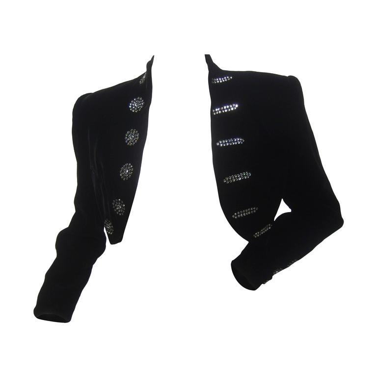 Black Crystal Velvet Matador Style Bolero Jacket  1