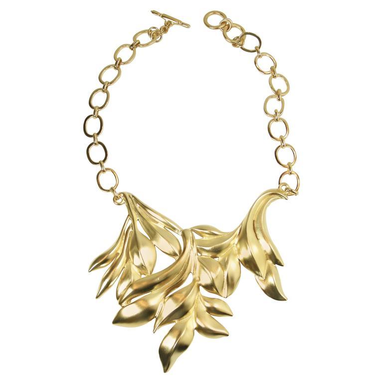 Oscar De La Renta Golden Leafy Floral Necklace 1