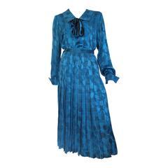 Oscar de la Renta 80s silk blouse & skirt size 4.
