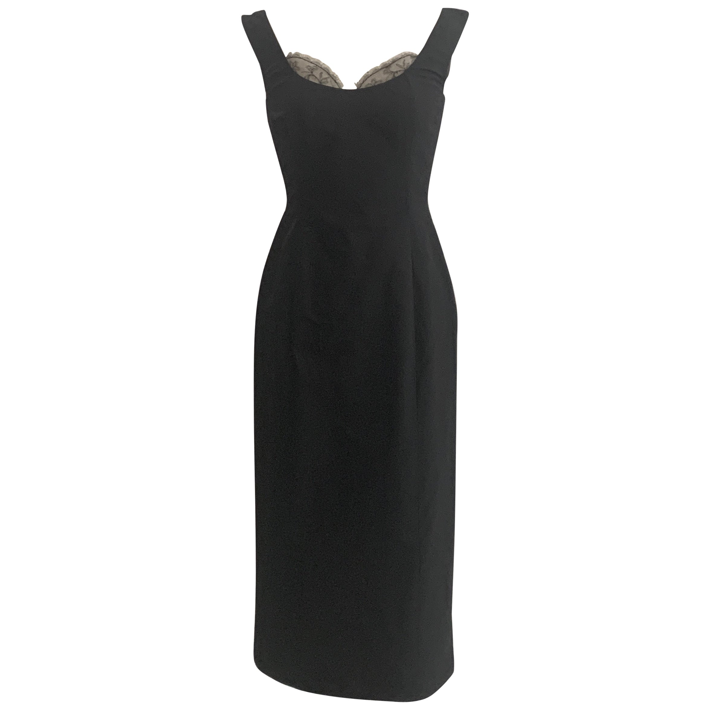 Alexander McQueen 2005 Black Silk Sleeveless Midi Wiggle Dress with Lace Trim