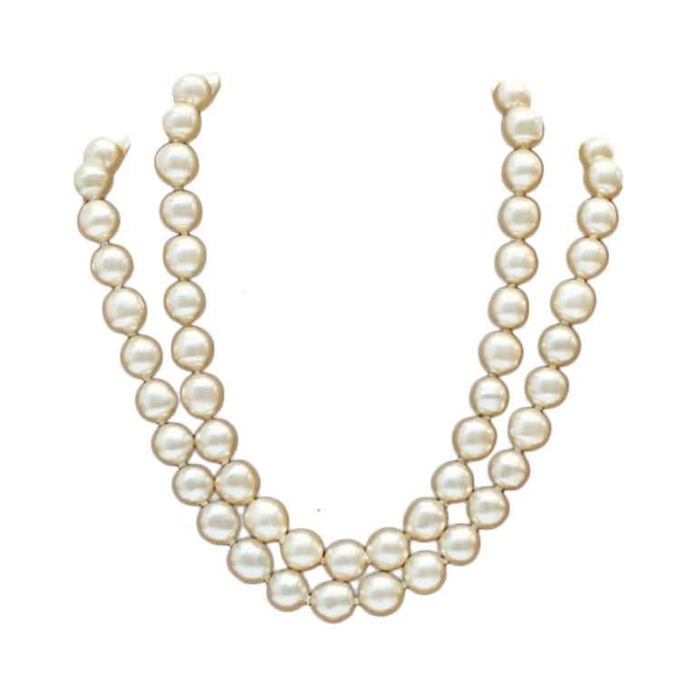 Earl 1980's Chanel Double Strand Pearl Necklace 1