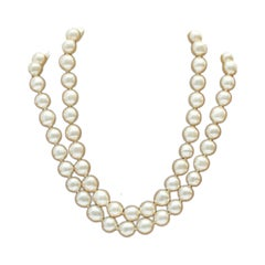 Earl 1980's Chanel Double Strand Pearl Necklace